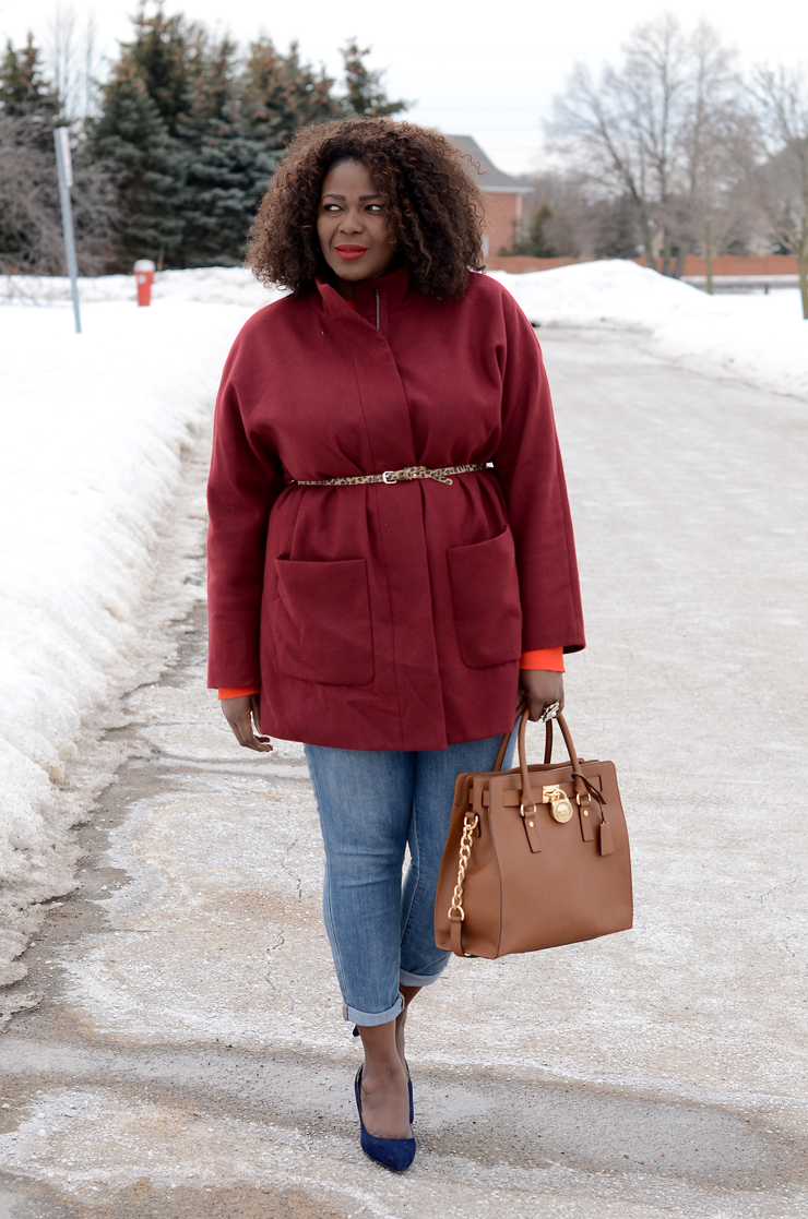 Trendy Plus Size Fashion for women Oversized Belted Coat #burgundy -mycurvesandcurls
