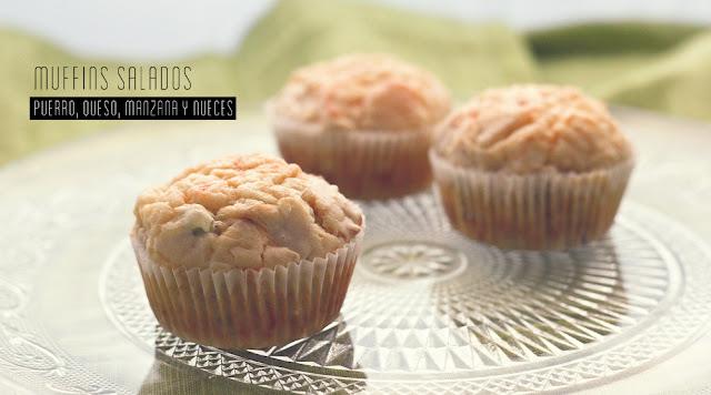 Muffins de puerro, queso, manzana y nueces