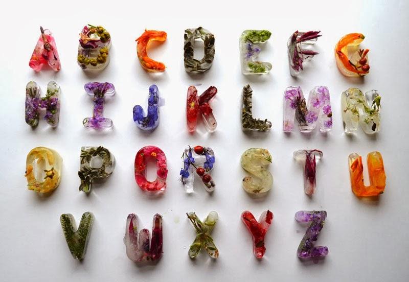cubitos de frutas con forma de letra