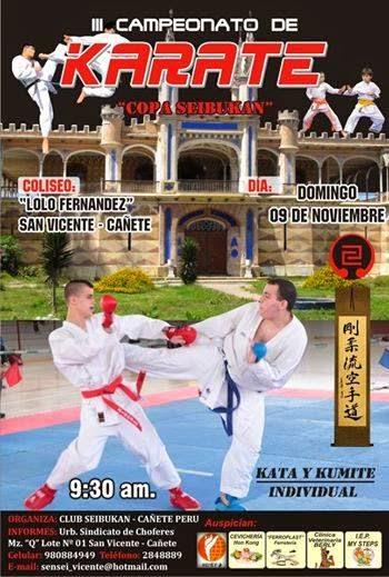"III CAMPEONATO DE KARATE  ""COPA SEIBUKAN""  Cañete Perú"