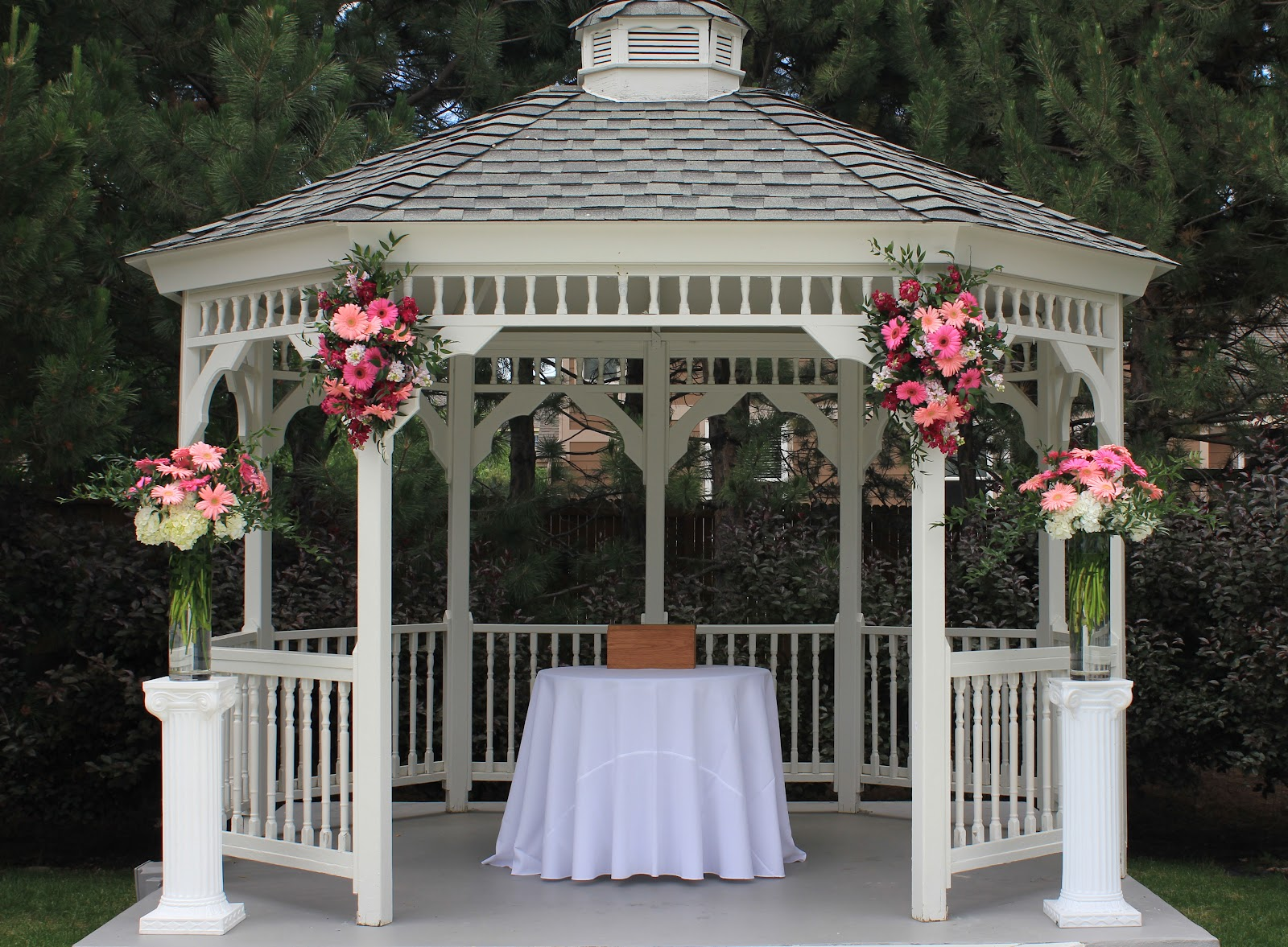 The brilliant blog pink chic for Outdoor wedding gazebo decorating ideas
