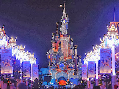Beautiful Disney Castle decorated for Christmas Celebrations