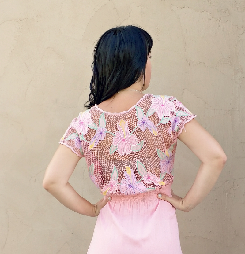 Thrift store find: vintage 70's pink lace open back dress