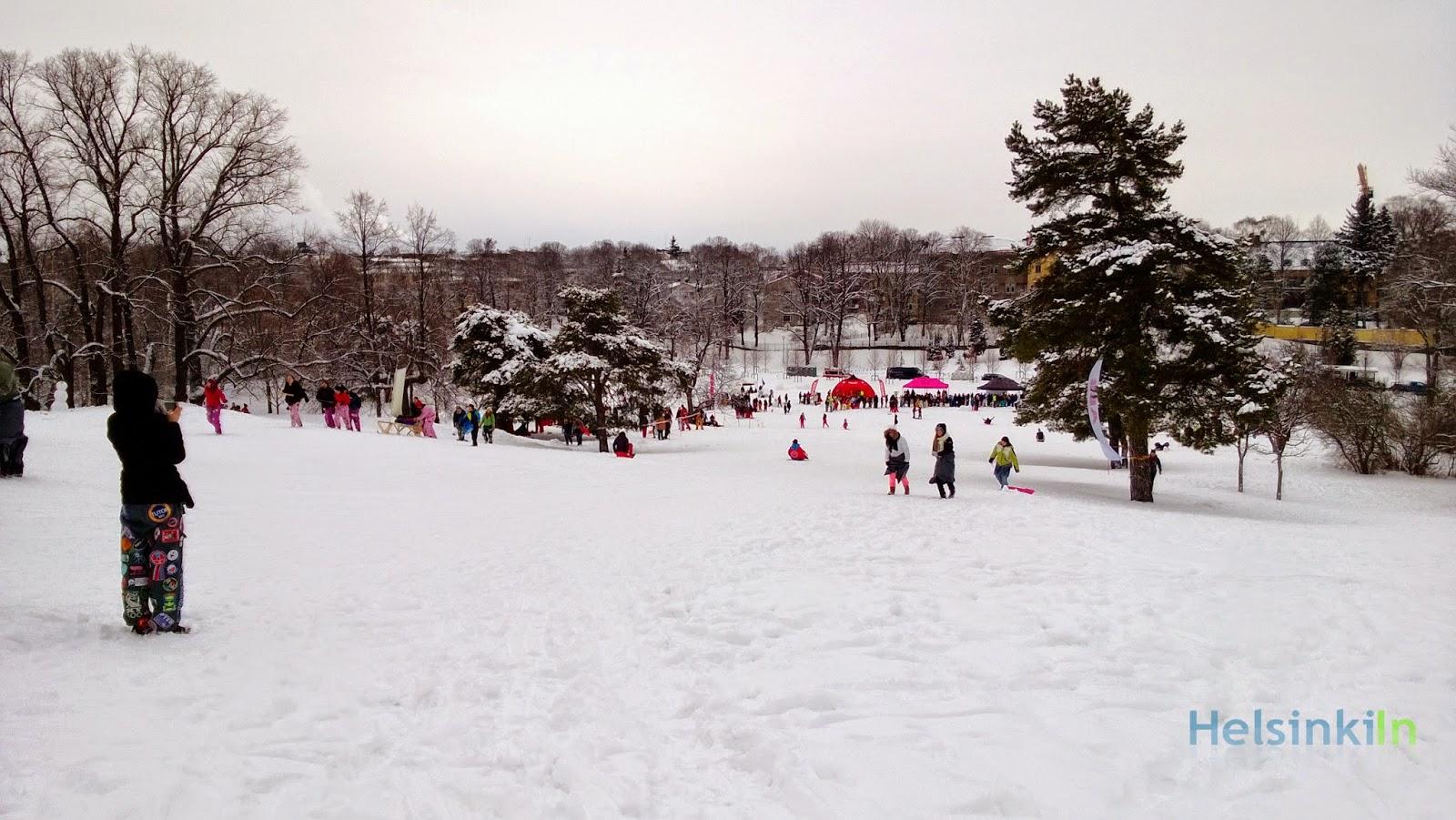 students celebrating Laskiainen at Kaivopuisto