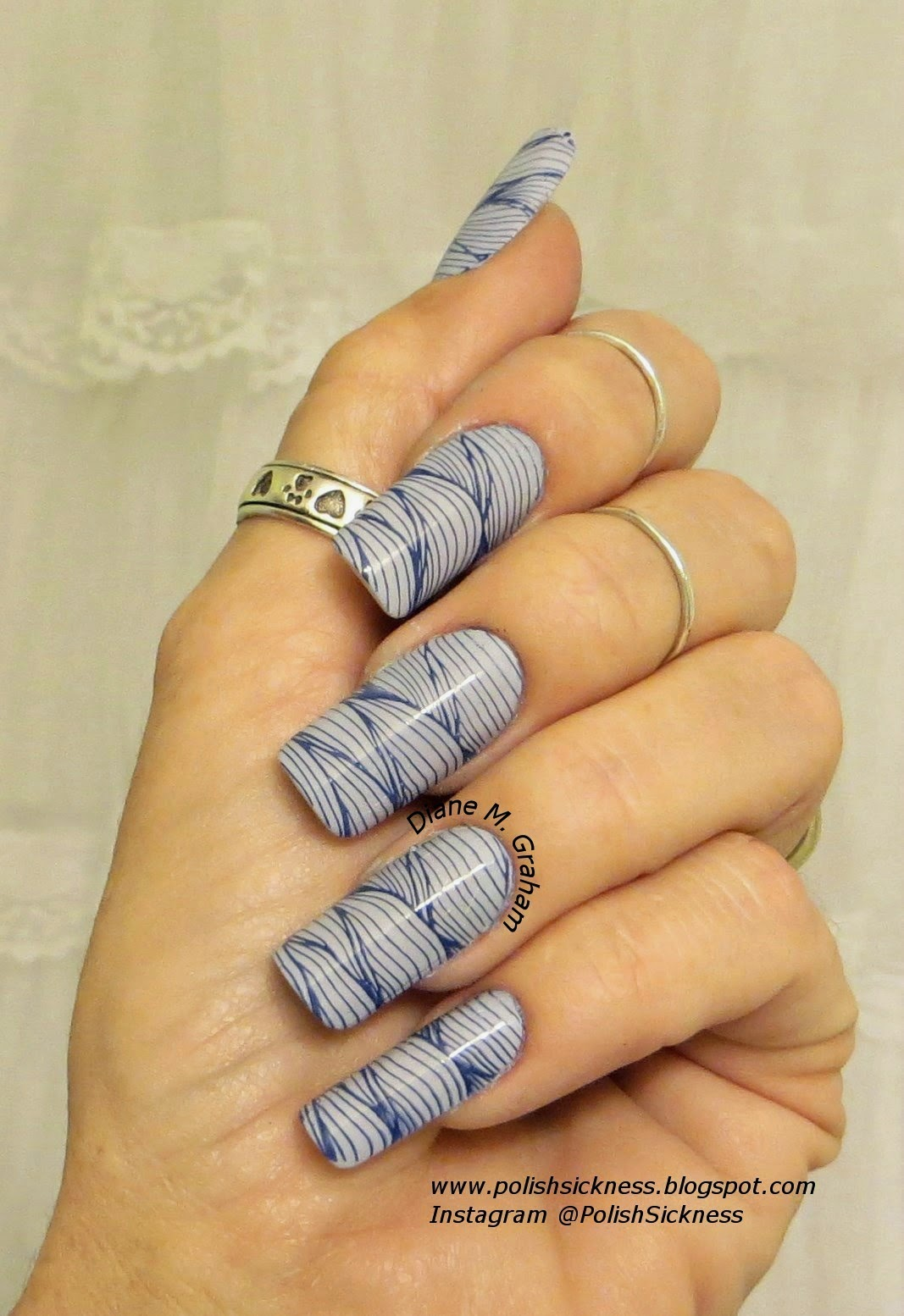China Glaze Agent Lavender, American Apparel Mount Royal, Ali Express AP 21 stamp