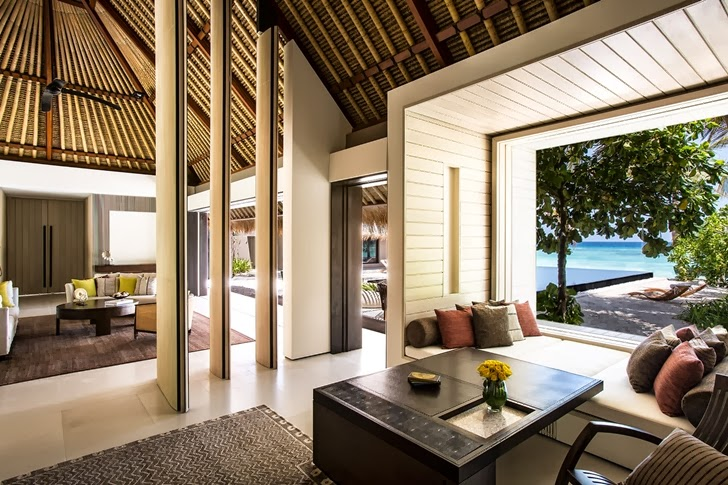 Interior decor in Modern villa in Maldives by Jean-Michel Gathy