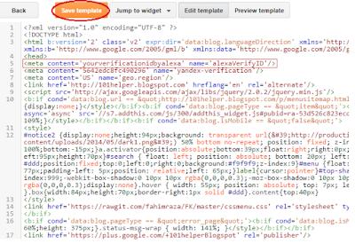 alexa site verification blogger