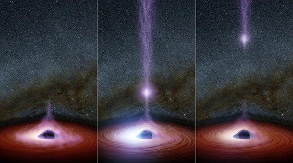 La causa del brillo de los agujeros negros.