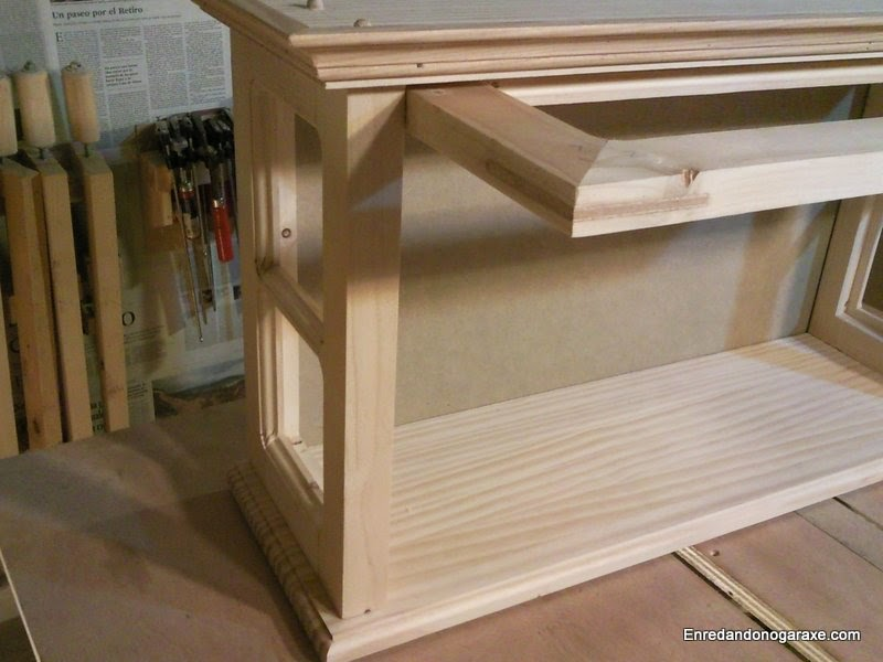 Routing a rabbet to install the back panel of the display cabinet. Rummageinthegarage
