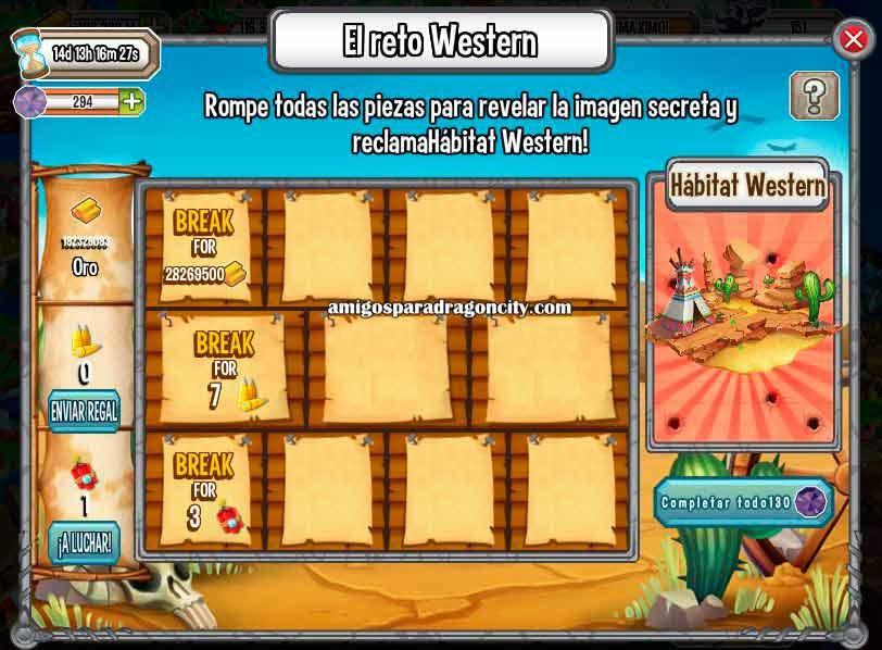 imagen de las tareas de habitat wester de la isla western de dragon city