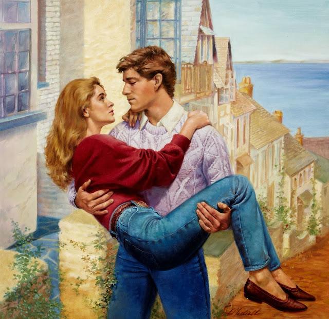 cute couple,hot kiss,romantic painting