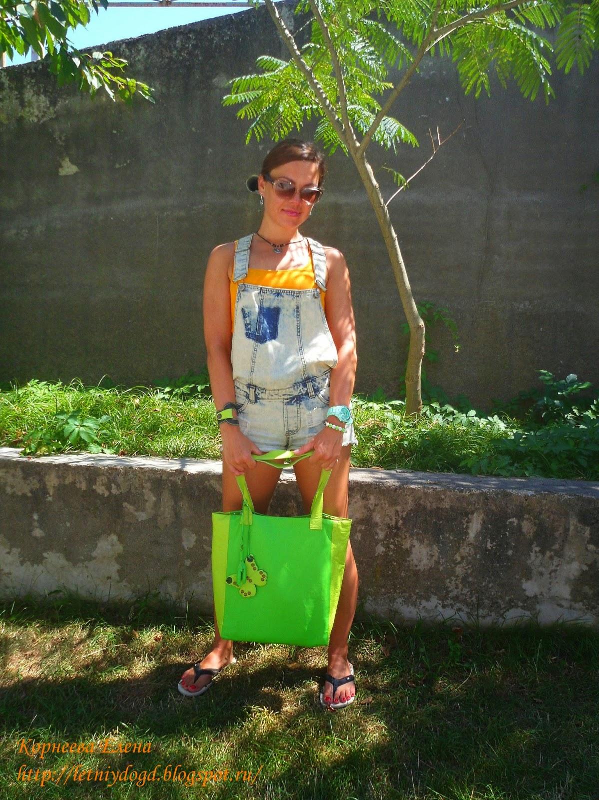 сумка кожаная ярко-зеленая летняя