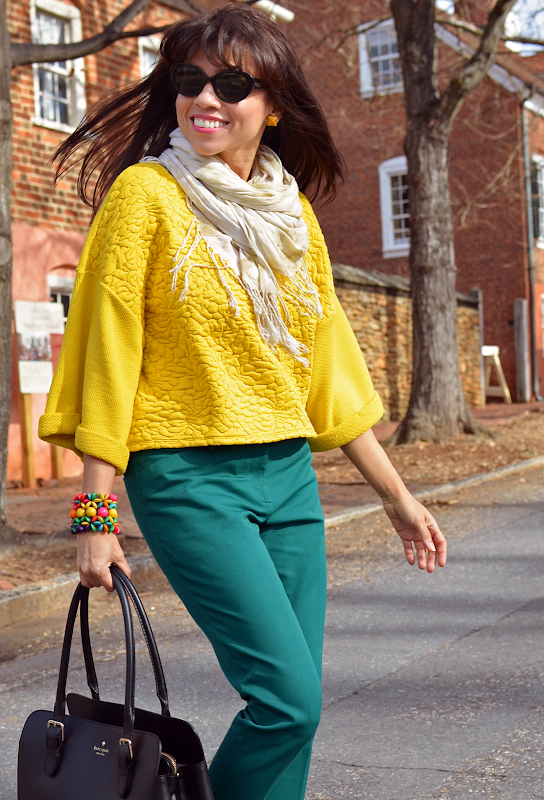 Yellow top outfit