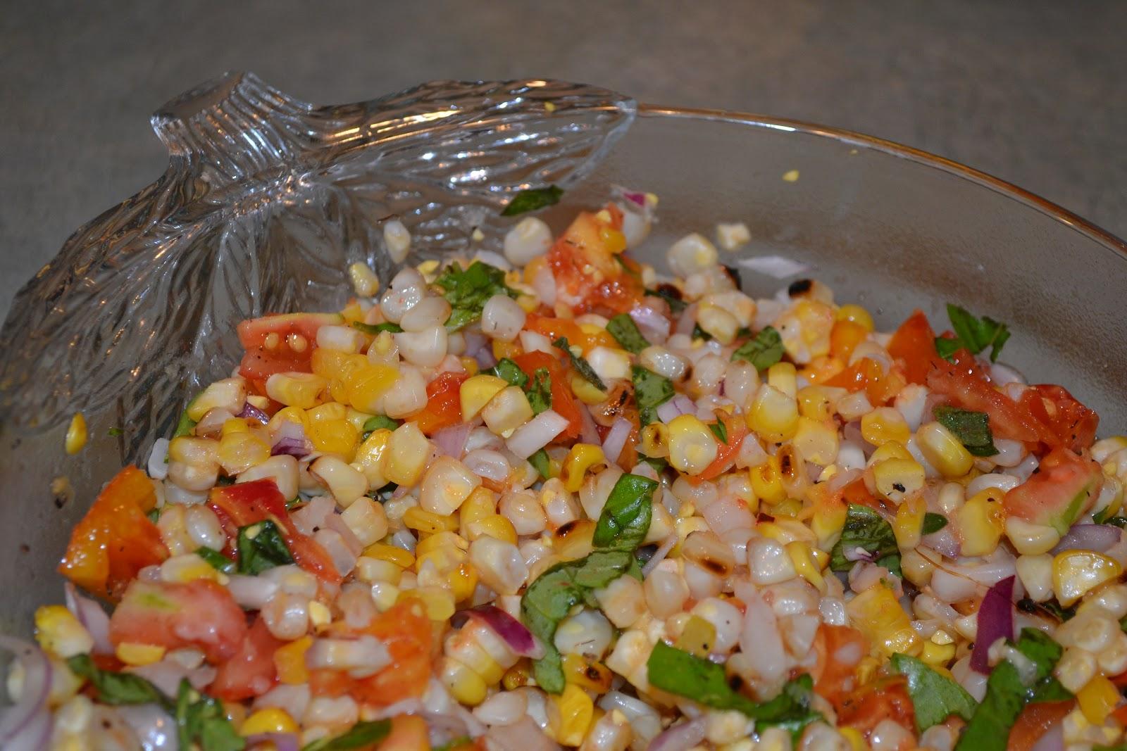 Upbeet Living: Charred Corn Salad with Basil & Tomatoes