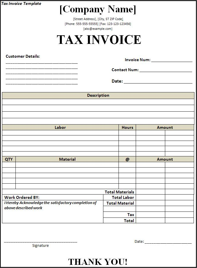 Doc.#572739: Sample Invoice Word Doc – Invoice Template For Word