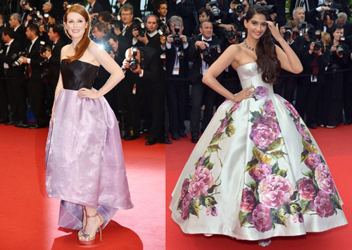 Julianne Moore in Christian Dior and Sonam Kapoor in Dolce& Gabbana