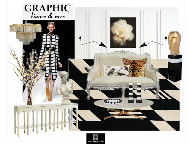 Graphic black and white design board