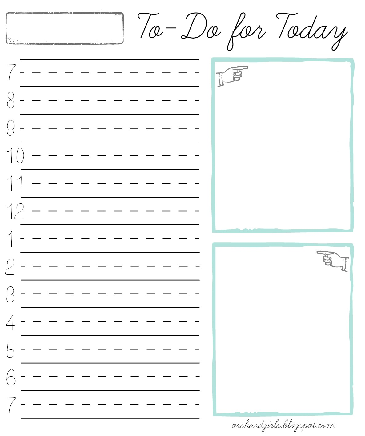 orchard girls daily time block notepad w free printable. Black Bedroom Furniture Sets. Home Design Ideas