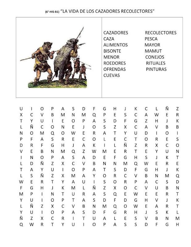 Sopa de letras de los cazadores y recolectores