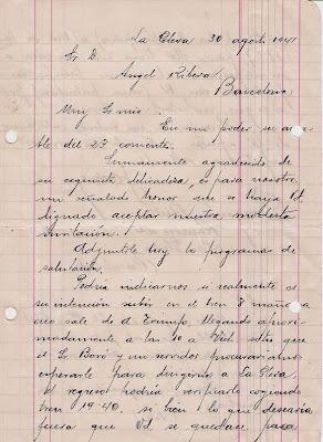 Nueva carta manuscrita de Joaquim Aulina 30 de agosto de 1941 (1)