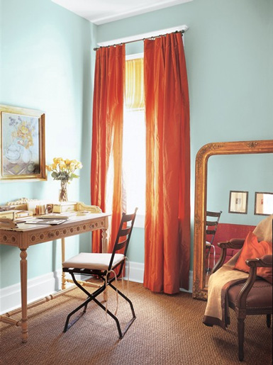Orange And Turquoise Curtains