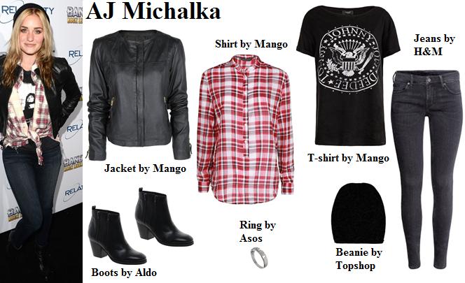 AJ Michalka, plaid shirt, leather jacket