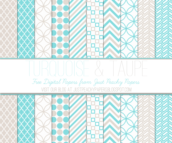 Mint and Peach Digital Papers Package