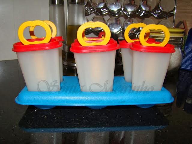 ... das formas para picolé/gelado da Tupperware
