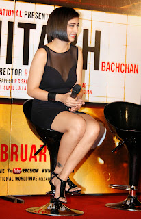 Actress Akshara Haasan Latest  Pictures in Short Dress at Shamitabh Hindi Movie Trailer Launch  5