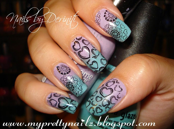 My Pretty Nailz Ombre And Hearts Pattern Nail Art Stamping Design