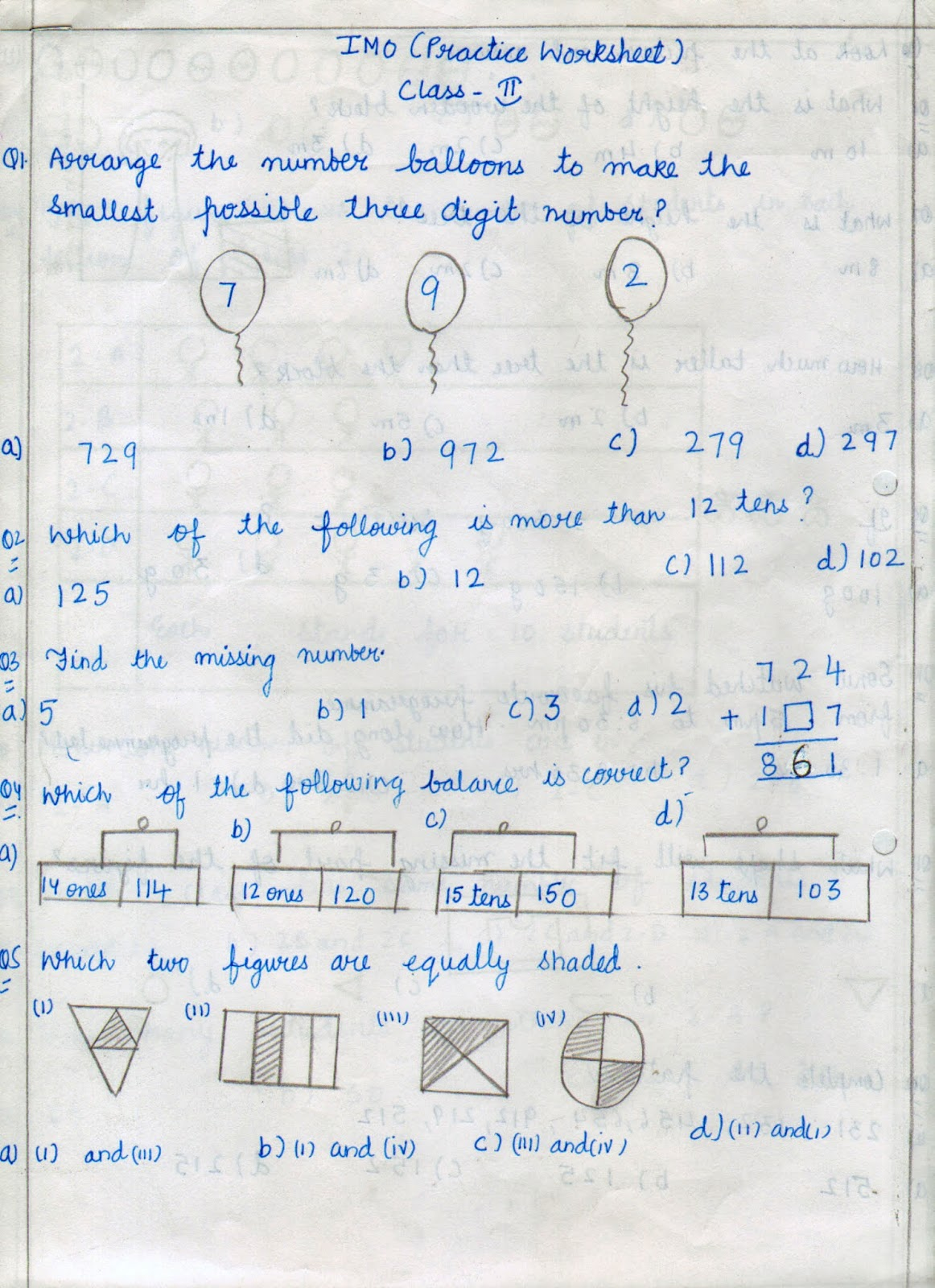 IMO Worksheet - Class II | Be Maths Smart
