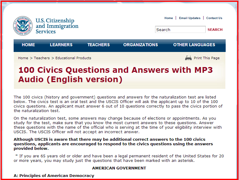citizenship test questions practice