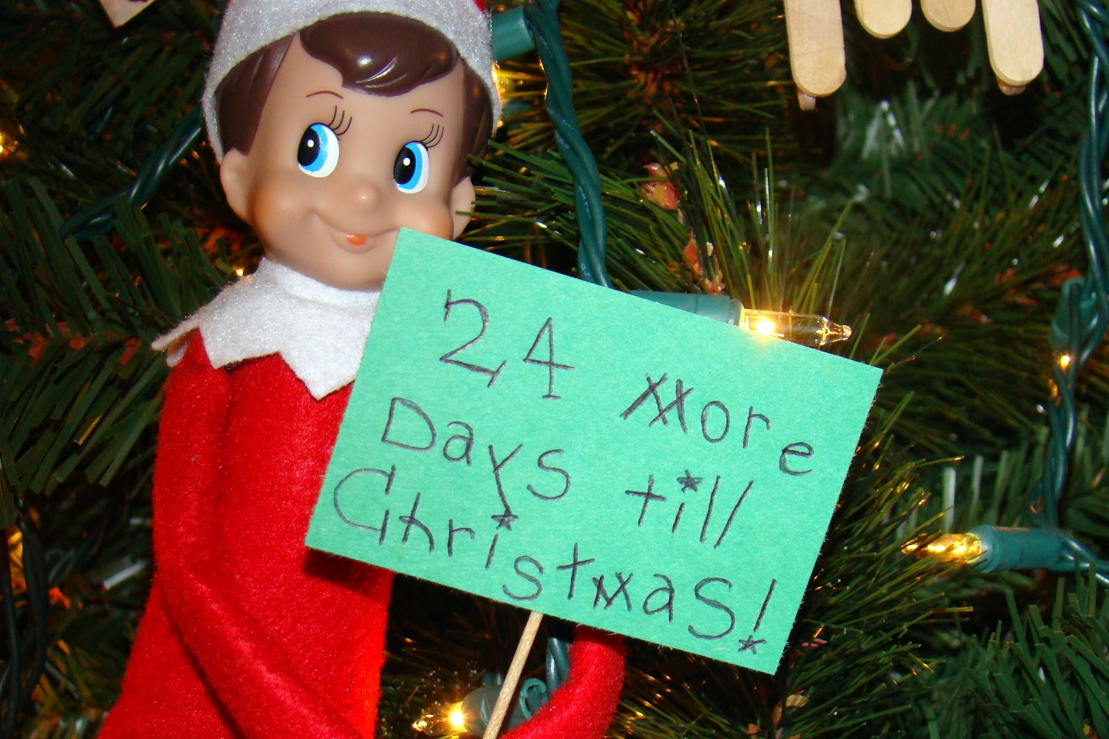 Sitting At Our Kitchen Table: Elf in Our Tree