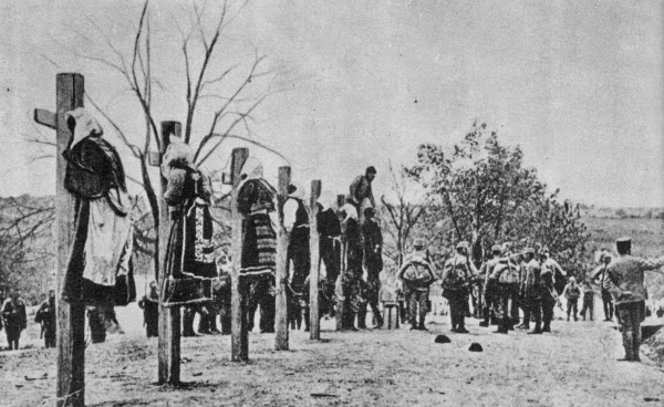 Austro-Hungarian soldiers executing men and women in Serbia