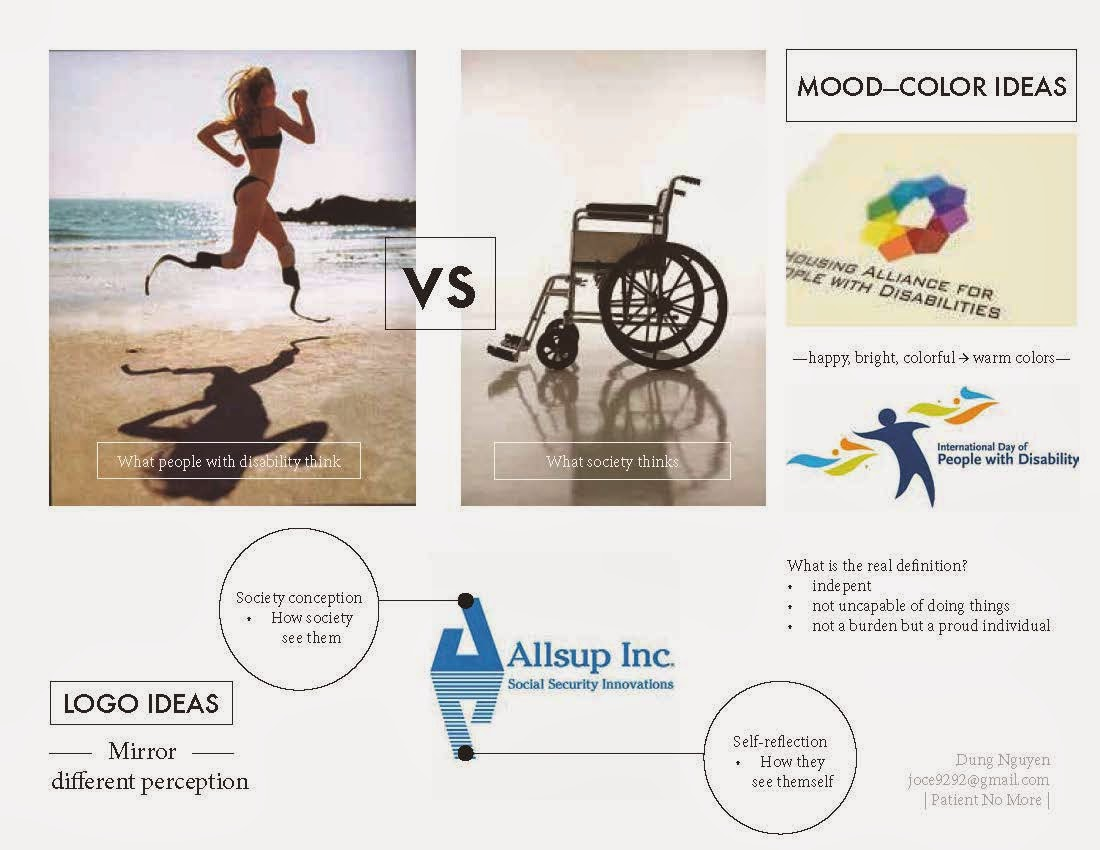 Compilation of inspirational images and existing disability logos.