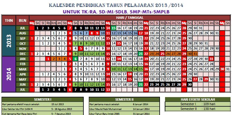 Bang Imam Berbagi Kalender Pendidikan Tahun Pelajaran 2013 2014