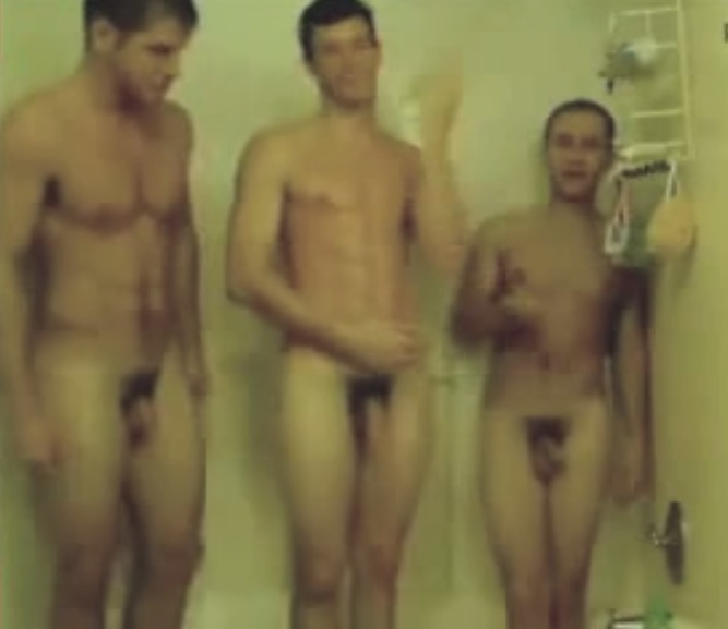 latin male naked shower