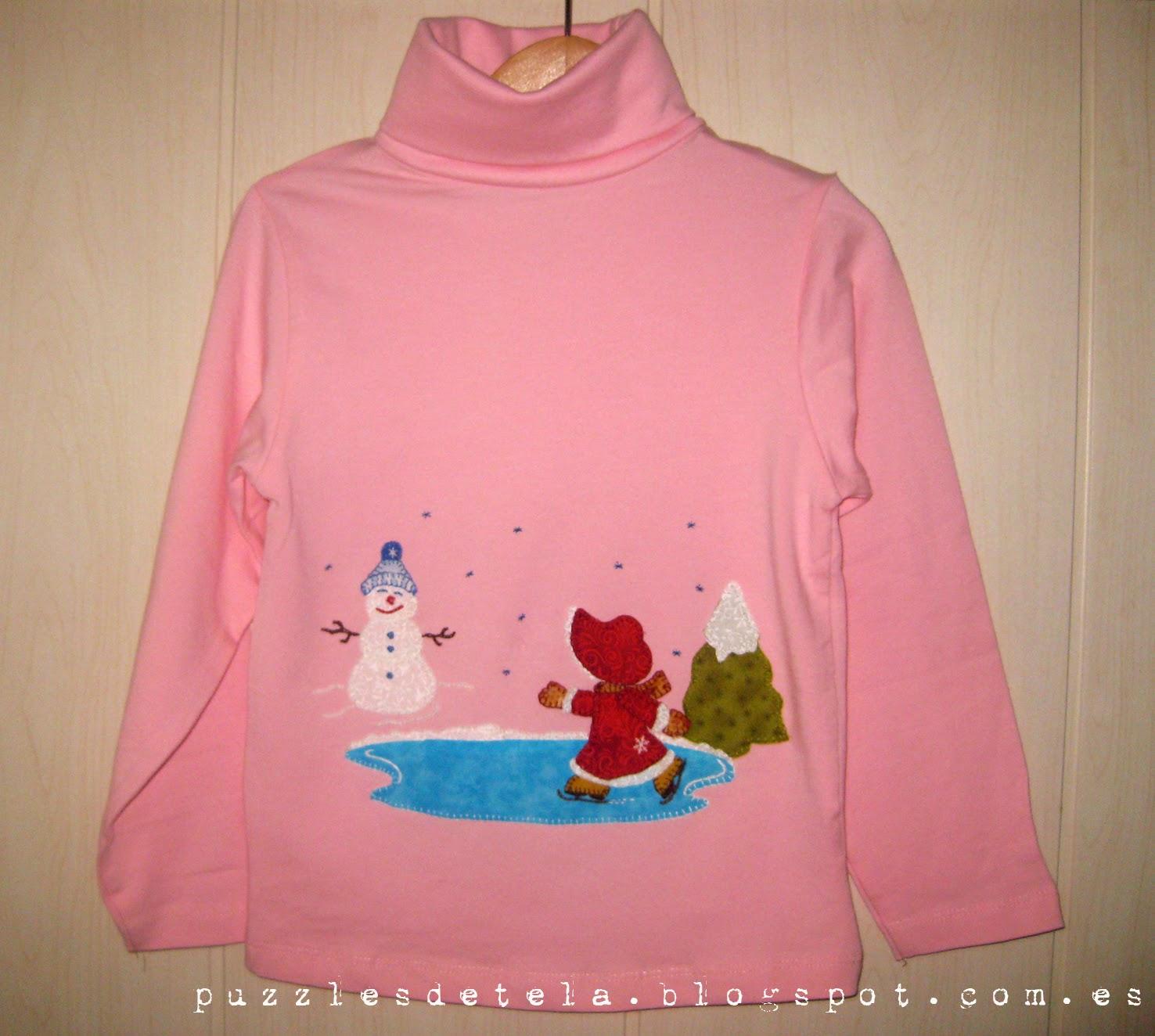 pattchwork, camiseta aplicacion patchwork, camiseta patchwork, Sunbonnet Sue, camiseta sunbonnet sue, jersey, invierno, regalos navidad, ideas regalos, regalos,