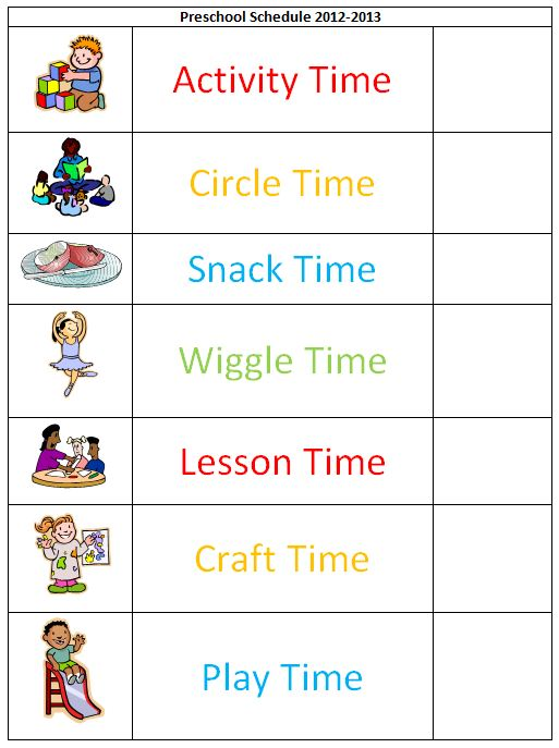 Delicate image intended for free printable picture schedule for preschool