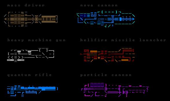 Ascii One Line Art Weapon : Rexpaint