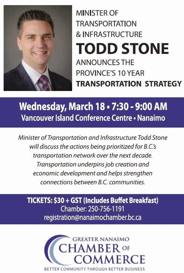 B.C. Minister Todd Stone Nanaimo Breakfast