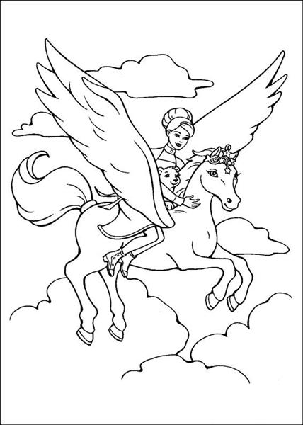 Barbie and the magic pegasus coloring pages learn to for Coloring pages of pegasus