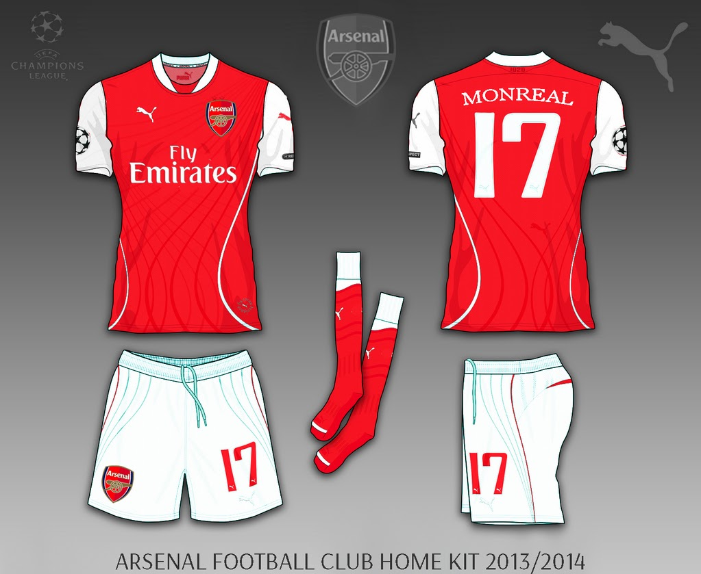 Arsenal Jersey Design with Puma apparel 20142015