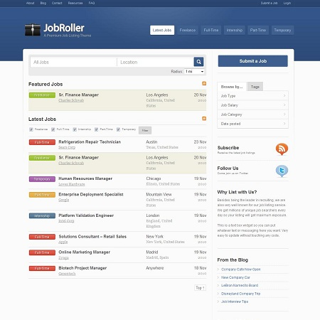 JobRoller Wordpress Theme