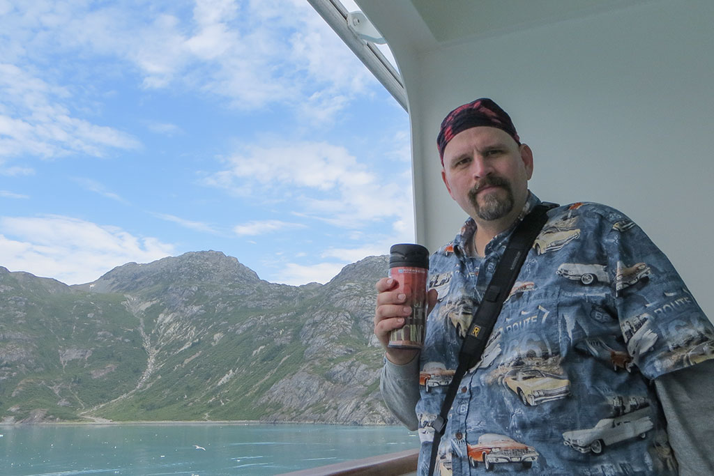 Bubba sipping on a Snowplow in Glacier Bay