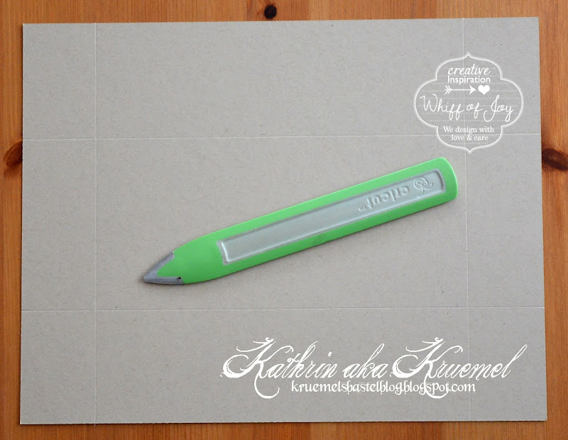 Score your cardstock along the long side at 6 cm from one side, turn  title=
