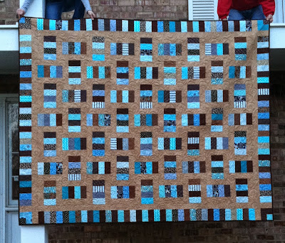 Framed Rectangles, Brown and Teal Quilt