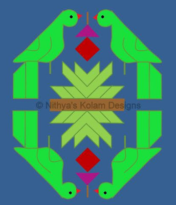 Parrot Kolam 16 by 8 dots
