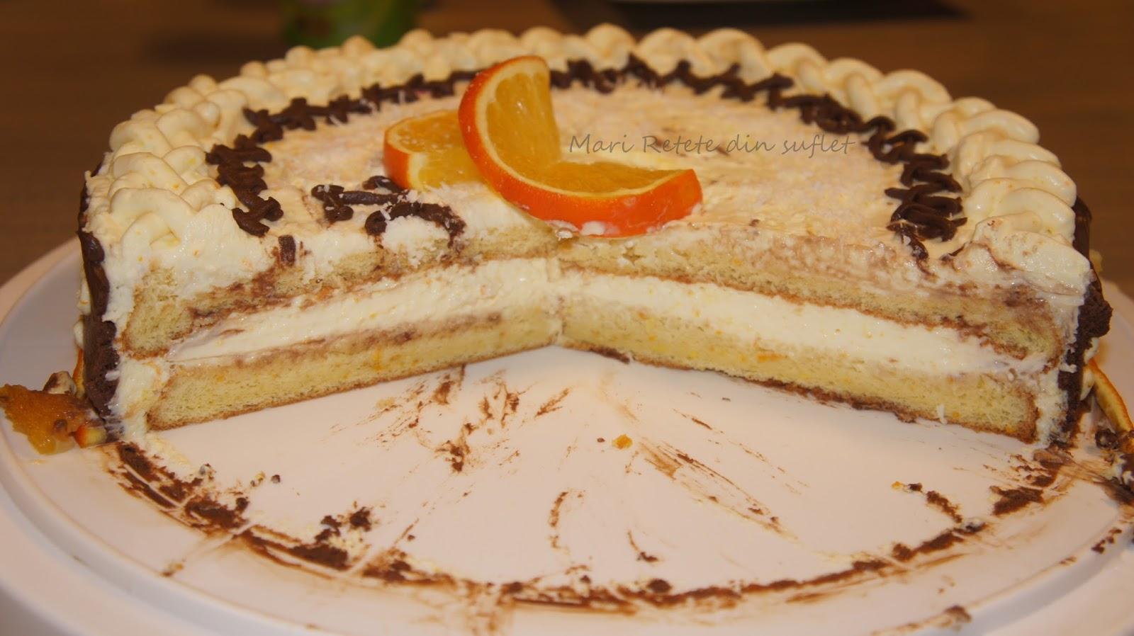 tort cu crema de portocale