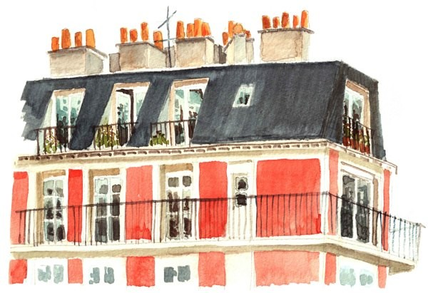 Paris Hotel - Watercolor